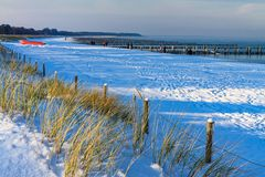 Winter on the Baltic Sea coast in Zingst, Germany Royalty Free Stock Image