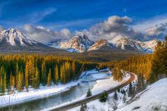 Winter in Banff National Park. Scenic Morant's Curve in winter, Banff National Park, Alberta Canada Stock Photography