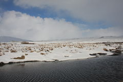 Winter on the banks of Kaldbakur lakes. Stock Images