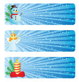 Winter banner. Set of Christmas banners in blue color Royalty Free Stock Image
