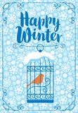 Winter banner with bird in the cage. Vector winter banner with inscription Happy Winter with a bird in a cage on the table against the background of seamless Stock Photos