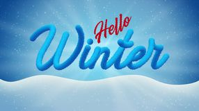 Winter banner in blue and red colors with the words `Hello Winter`. Knitted and frosty lettering stock illustration