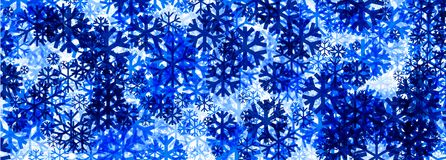 Winter banner with blue snowflakes. Stock Image
