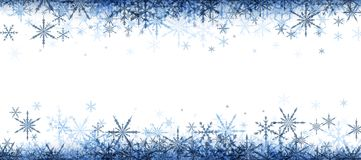 Winter banner with blue snowflakes. White winter banner with blue snowflakes. Vector illustration stock illustration