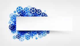 Winter banner with blue snowflakes. Royalty Free Stock Photo