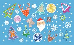 Winter banner with Christmas toys in sticker style, snowflakes, Santa Claus and deer. A set of stickers for a variety of designs Royalty Free Stock Photography
