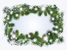 Winter banner with christmas tree Stock Image