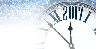 2017 winter banner with clock. 2017 winter banner with clock and snow. Vector illustration Stock Image