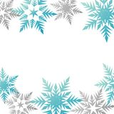 Winter banner colorful pastel blue gray snowflakes place for tex. T vector Royalty Free Stock Images
