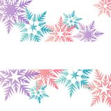 Winter banner colorful pastel pink blue purple snowflakes place. For text vector Stock Photos