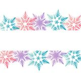 Winter banner colorful pastel pink blue purple snowflakes place. For text vector Stock Images