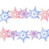 Winter banner colorful pastel pink blue purple snowflakes place. For text vector Royalty Free Stock Image