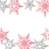 Winter banner colorful pastel pink gray snowflakes place for tex. T vector Stock Photography