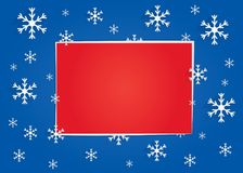 Winter banner with dark blue background, snowflakes and a big red rectangle for text Royalty Free Stock Photo