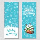 Winter banner design vertical background set with cute cartoon deer Stock Images