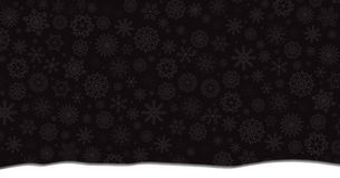 Winter banner with falling silver snowflakes and snowdrift. On black background. Vector illustration, banner, template Stock Photo