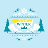 Winter banner flat design snow tree vector Stock Photo