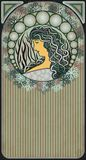 Winter banner with girl in art nouveau style, vector. Illustration Royalty Free Stock Photography