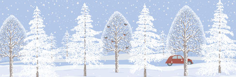 Winter banner. Winter landscape background with snowy trees. Vector illustration Stock Photos