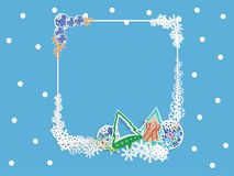 Winter banner with light blue background, snowflakes Stock Photography