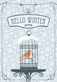 Winter banner with red bird in the cage. Vector winter banner with lettering Hello Winter with a bird in a cage on the table against the background of seamless Royalty Free Stock Photography