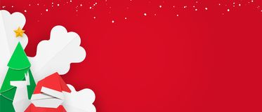 Winter banner template with snow for web. Christmas leaflet with red background, santa, new year tree, snowflake and reindeer. Winter banner template with snow vector illustration