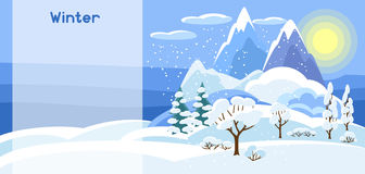 Winter banner with trees, mountains and hills. Seasonal illustration Stock Image