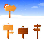 Winter banner with wooden signboards Stock Images