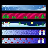 Winter banners. Vector - web banners with christmas winter theme Stock Photo