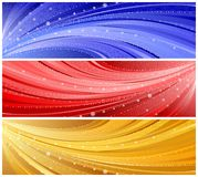 Winter banners. Three vector winter banners in blue, red and golden colors Royalty Free Stock Photo