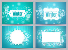 Winter banners and backgrounds vector bundle with designs Royalty Free Stock Image