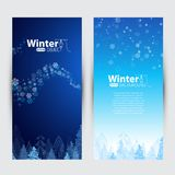 Winter banners, blizzard, tree Stock Photography