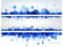 Winter banners with blue snowflakes. Stock Images