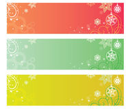 Winter banners christmas festive background vector. The banners with snow and star and green plants Stock Photography