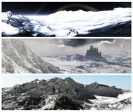 Winter Banners Set. Set of elegant winter banners with highly detailed natural environments Royalty Free Stock Photos