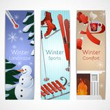 Winter Banners Set. With landscape sports comfort elements isolated vector illustration Stock Photography