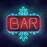 Winter bar neon sign board. Royalty Free Stock Image