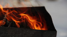 Winter barbeque fire stock footage