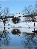 Winter barn. A winter scene at a small lake in rural North Carolina Royalty Free Stock Images