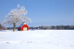 Winter Barn Stock Photo