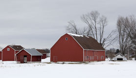 Winter barn and farm scene Royalty Free Stock Photo