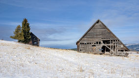 Winter Barn and homestead in the mountains of Idaho Royalty Free Stock Photos