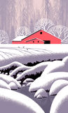 Winter Barn Scene. Image from an original painting by Larry Jacobsen. / S-004 vector illustration
