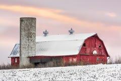 Winter Barn at Sundown Royalty Free Stock Photos