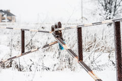 Winter barrier gate Stock Images