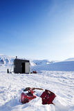Winter Base Camp. A base camp for a winter expedition - Spitsbergen, Svalbard, Norway stock images