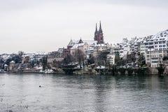 Winter in Basel, die Schweiz lizenzfreie stockfotos