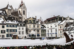 Winter in Basel, Switzerland. Snow in the city royalty free stock photos