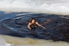 Winter bathing Royalty Free Stock Images