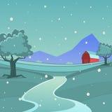 Winter-Bauernhof-Landschaft Stockbild